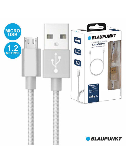 Cabo Blaupunkt Nylon Prata USB-A/Micro U