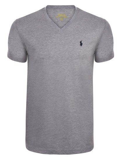 T-shirts Decote em V Ralph Lauren Homem Cinza