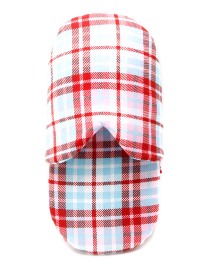 Chinelos de Quarto Coup de coeur padrão xadrez vermelho e