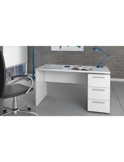 Mesa de Escritório Forés Theon 3 Gavetas Branco