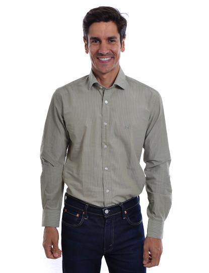 Camisa Homem Sacoor Riscas Caqui, até 2018 06 10