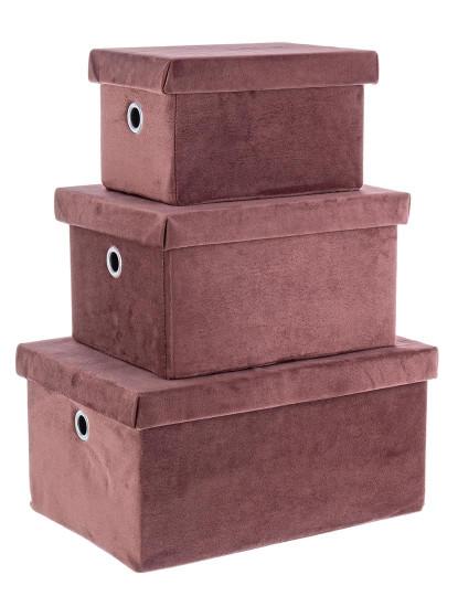 Set3 Caixas Velvet Retangulares Rosa