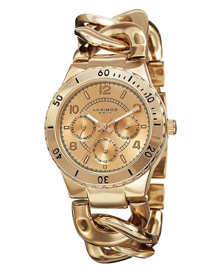 64545605599 Relógio Akribos Senhora Chain Link Divers Dourado