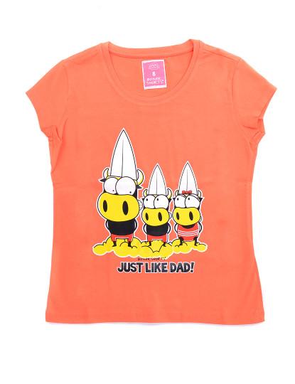 T-Shirt Regular Fit Pai Throttleman Rapariga Laranja Claro