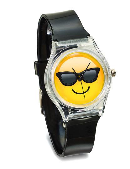 Relógio Emojem Preto Fun Face