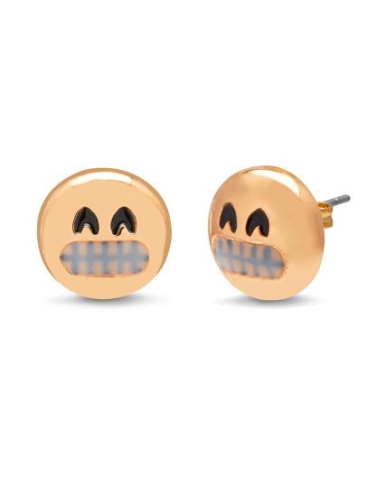 Brincos 3D Fun Face - Grin Amarelo Dourado