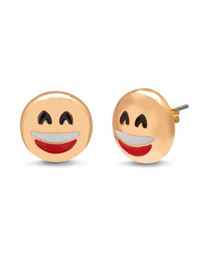 Brincos 3D Fun Face - Smile Amarelo Dourado