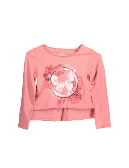 T-shirt M. Comprida Guess Jeans Menina Rosa