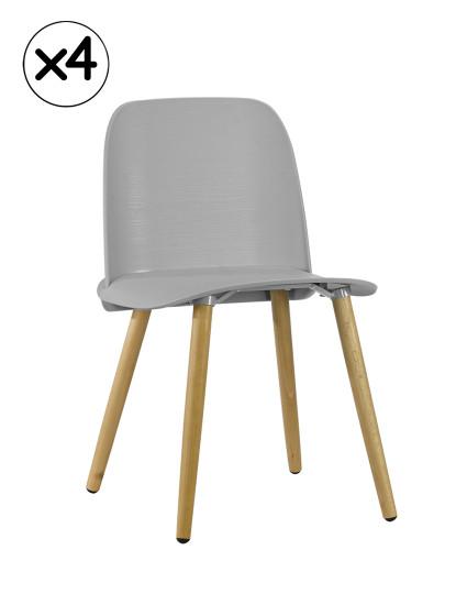 Pack 4 Cadeiras Wood Gum Cinza