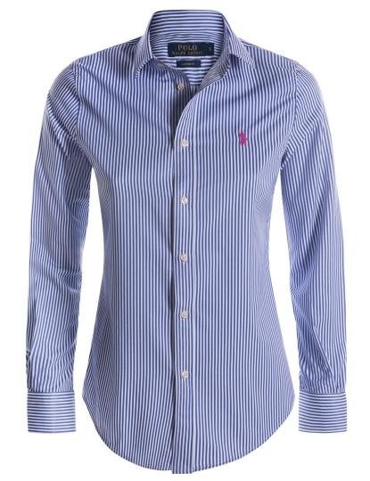 a5d85c992eb07 Camisa Ralph Lauren Riscas Senhora Azul e Branca