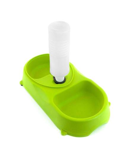 Dispensador de Comida E Água com Garrafa para Animais Verde
