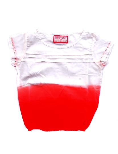 Camisola Manga Curta  Casual Throttleman Rapariga Branco E Vermelho