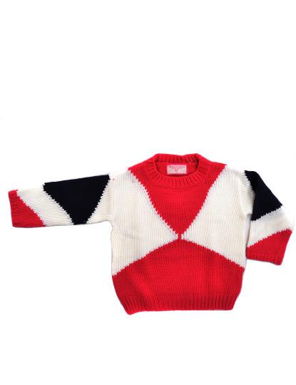 Camisola Malha Crewneck Casual Throttleman Rapariga Vermelho E Branco