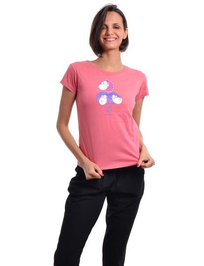 T-Shirt Regular Fit Funny Throttleman Rosa