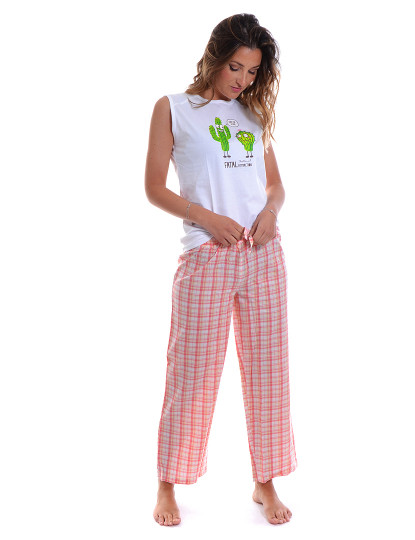 Pijamas No Malha & Fabric Funny Throttleman Branco e Rosa