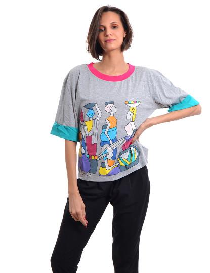 T-Shirt Regular Fit Casual Throttleman Cinza