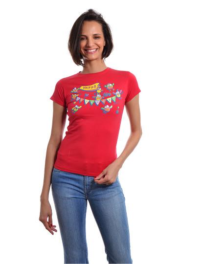 T-Shirt Slim Fit Funny Aniversario Throttleman Vermelho