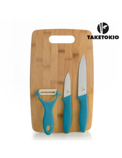 Facas Cerâmicas Com Tábua De Bambu Taketokio (4 Peças) Turquesa