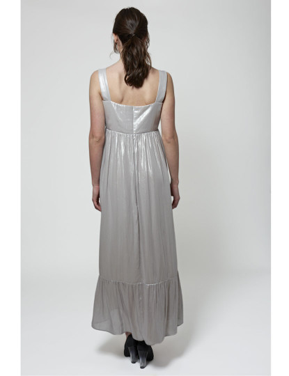 Vestido Senhora Javier Larrainzar Comprido Romântico Prateado