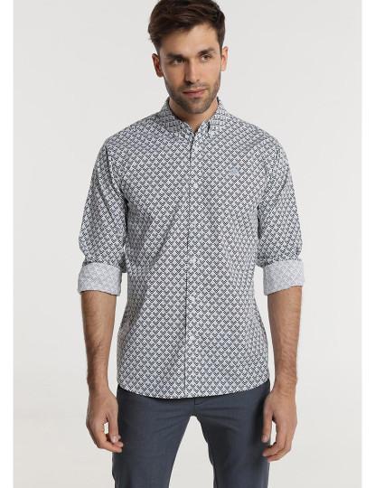 Camisa Popelin Stretch Mini Print Bendorff Homem Preto