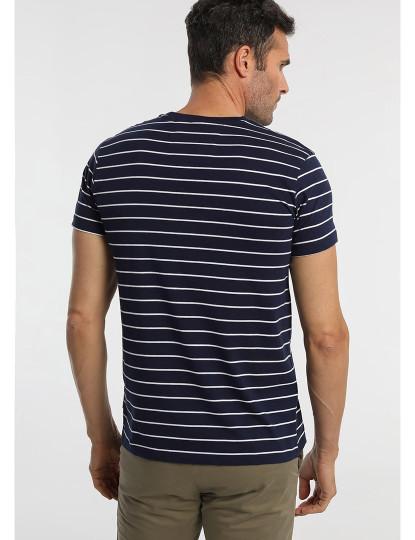 T-shirt Riscas Bordada Bendorff Homem Azul