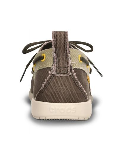 Sapato Crocs Walu Canvas Deck Castanho E Bege