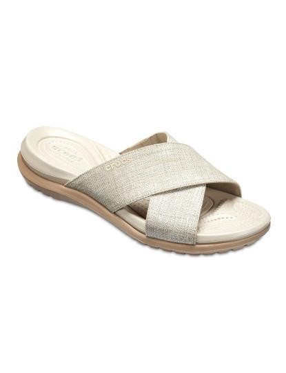 Chinelo Crocs Nude Capri Shimmer Xband Sandal W
