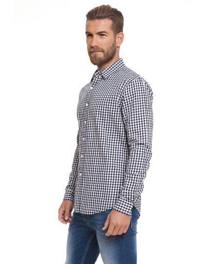 Camisa Homem Larix Padrão Azul Navy