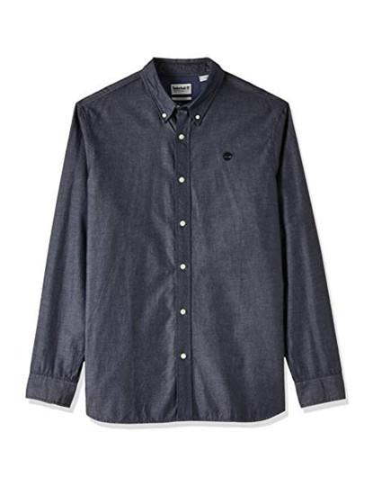 Camisa Timberland Ls Wellfleet Solid Ox Reg White Yd Homem Safira Escuro YD