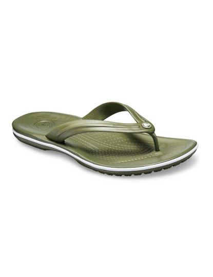 Chinelo Crocs Crocband Verde Militar e Branco