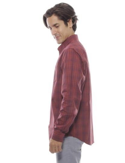 Camisa Timberland Manga Comprida Claremont Plaid Bd Vermelha