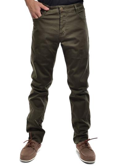Calças Cheyenne Básica Sarja Cintura Média Perna Slim Verde Alga