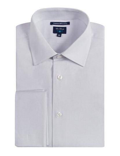 Camisa Mr Blue Botões De Punho Lisa