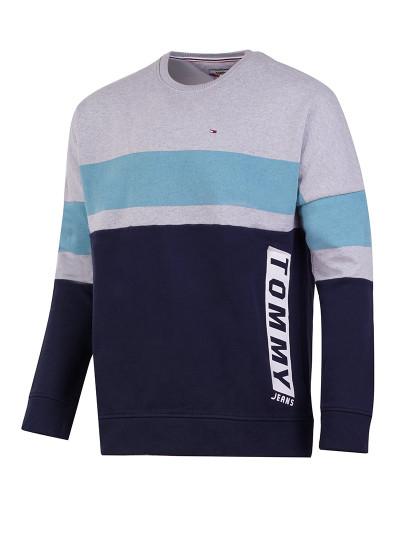 Camisola Tommy Jeans Boxy Block Cn Cinza -Azul Marinho de Homem