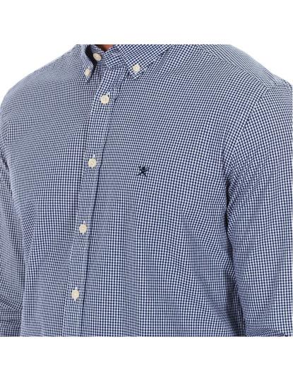 Camisa M Comprida Hackett Homem Azul Marinho E Branco