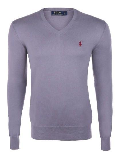 Pullover Ralph Lauren decote em V Homem Cinza e Bordeaux Homem