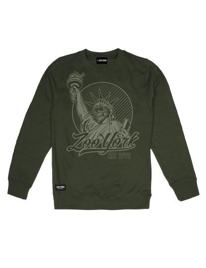 Sweatshirt Liberty Skull Verde Azeitona Homem Zoo York