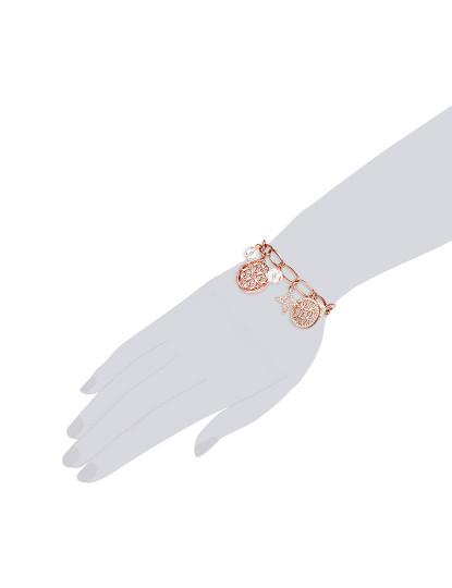Pulseira Dourada Rosa C/ Elementos Swarovski® Saint Francis Crystals