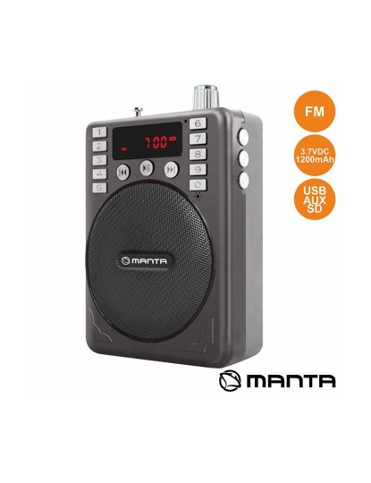Rádio Portátil FM Manta Stereo compacto