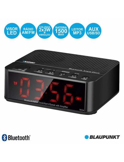 Rádio Despertador Bluetooth c/ Leitor MP3 e Colunas Estéreo
