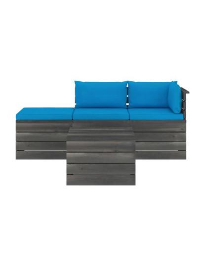 4 Pcs Conj. Lounge de Paletes + Almofadões Madeira
