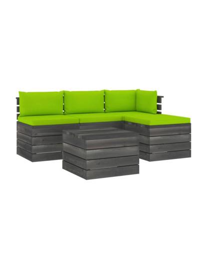 5 Pcs Conj. Lounge de Paletes + Almofadões Madeira
