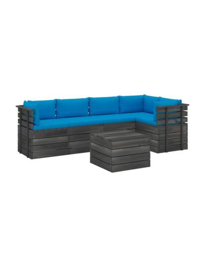 6 Pcs Conj. Lounge de Paletes c/ Almofadões