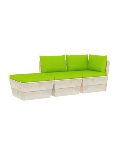 3 Pcs Conj. Lounge de Paletes + Almofadões Madeira