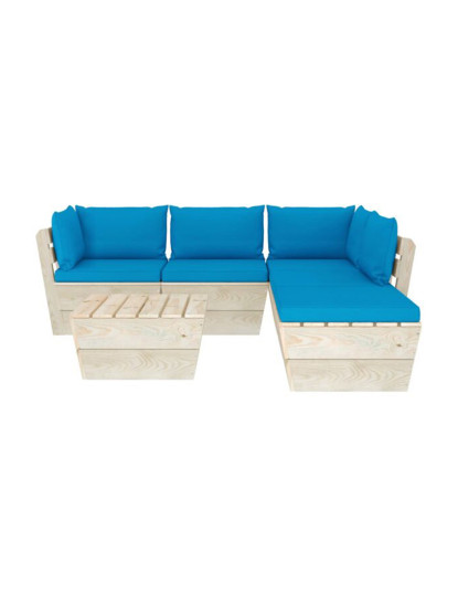6 Pcs Conj. Lounge de Paletes + Almofadões Madeira