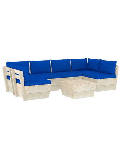 7 Pcs Conj. Lounge de Paletes + Almofadões Madeira