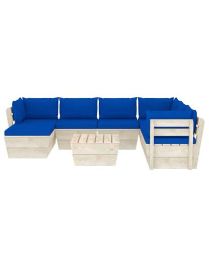 8 Pcs Conj. Lounge de Paletes + Almofadões Madeira