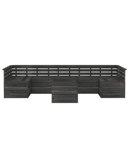 7 Pcs Conj. Lounge Paletes + Almofadões Cinza Escuro
