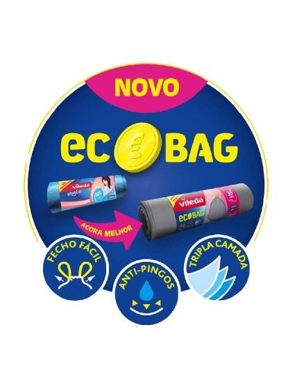 Sacos Do Lixo Vileda Ecobag 30 L, C/ Fecho Fácil E Sistema Anti-Pingos