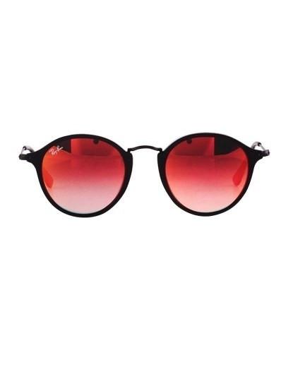 Óculos Ray-Ban Round Fleck Flash Lenses Gradient Preto e Laranja ... 4625ffaf12